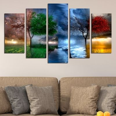 0647 Wall art decoration (set of 5 pieces) Seasons