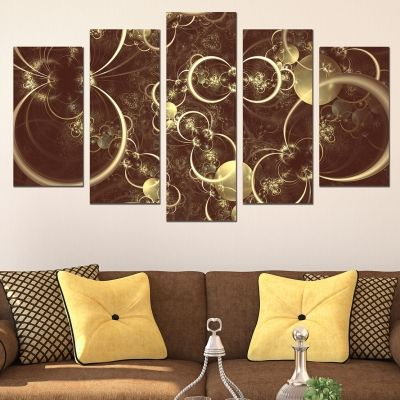 0648 Wall art decoration (set of 5 pieces) Abstract circles