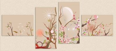 0090 Wall art decoration (set of 4 pieces) Florals