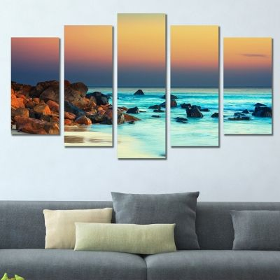 0304 Wall art decoration (set of 5 pieces)  Sunset over the sea
