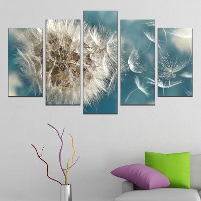 0649 Wall art decoration (set of 5 pieces) Dandelion