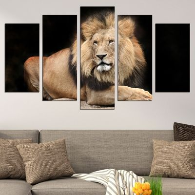 0650 Wall art decoration (set of 5 pieces) Lion