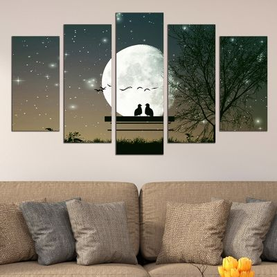 0652  Wall art decoration (set of 5 pieces) Moonlight