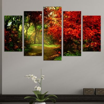 0653 Wall art decoration (set of 5 pieces) Colorful forest landscape