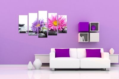 Zen canvas art composition with gerberas and stones