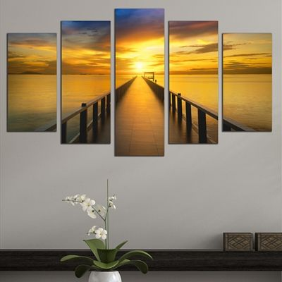 0660 Wall art decoration (set of 5 pieces)  Sea sunset with pier