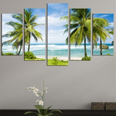 0661 Wall art decoration (set of 5 pieces) Beautiful beach with palms