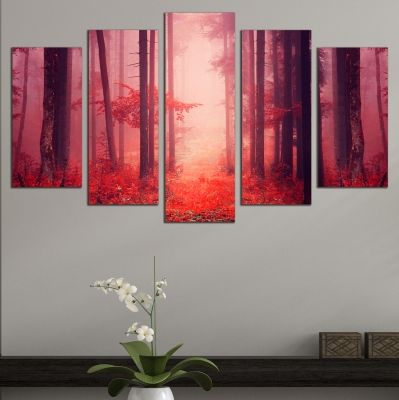 0662 Wall art decoration (set of 5 pieces) Forest landscape in red