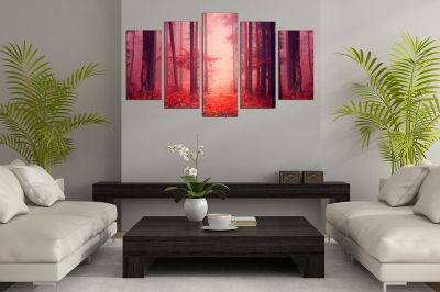 Home wall art decoration with landscape in red forest