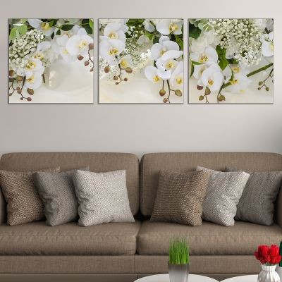 0664 Wall art decoration (set of 3 pieces) White orchids