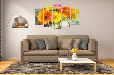 Painting canvas wall art with art flowers in orange and yellow