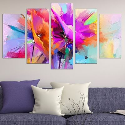 wall art canvas decoration set with abstract flowers purple and orange colorful