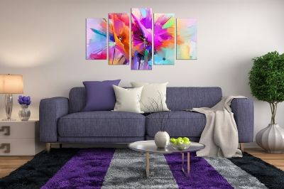 canvas print decoration with abstract flowers orange and purple colorful