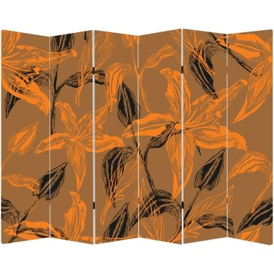 P0133_1 Decorative Screen Room divider Abstract flowers in orange and brown (3,4,5 or 6 panels)