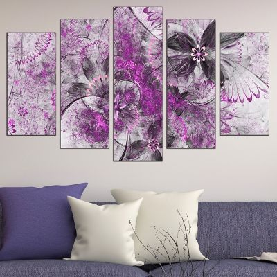 0668 Wall art decoration (set of 5 pieces) Abstract flowers in purple and grey