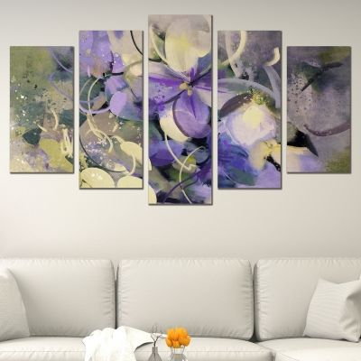 0669 Wall art decoration (set of 5 pieces) Art flowers purple and white