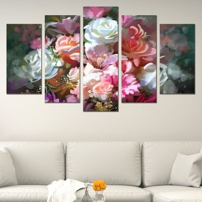 0670 Wall art decoration (set of 5 pieces) Art flowers in beautiful colors