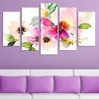 0671 Wall art decoration (set of 5 pieces) Art flowers