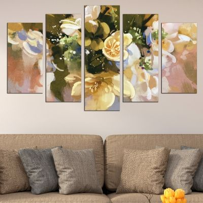 0672 Wall art decoration (set of 5 pieces) Abstract flowers