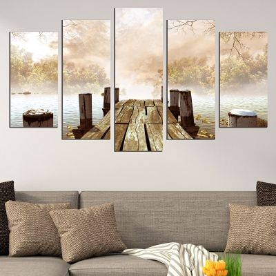 0674 Wall art decoration (set of 5 pieces)  Landscape with wooden pier