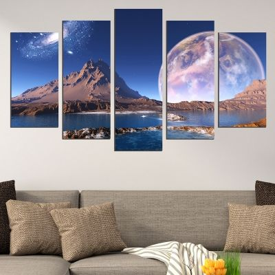 0675 Wall art decoration (set of 5 pieces) Fantastic mountain landscape