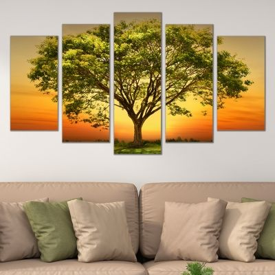 0677 Wall art decoration (set of 5 pieces) Landscape beautiful tree