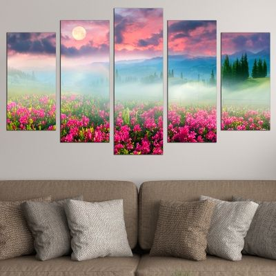 0681 Wall art decoration (set of 5 pieces) Colorful mountain landscape