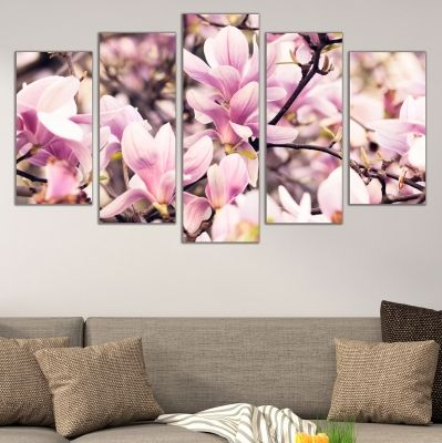 0682 Wall art decoration (set of 5 pieces) Magnolia