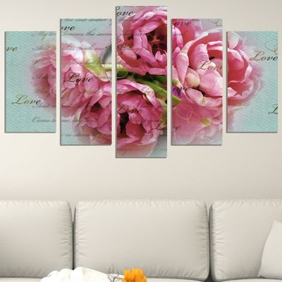 0684 Wall art decoration (set of 5 pieces) Vintage roses