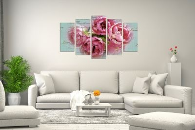 Canvas wall art set for living room with vintage roses