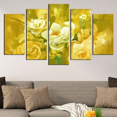 0685 Wall art decoration (set of 5 pieces) Art flowers - yellow