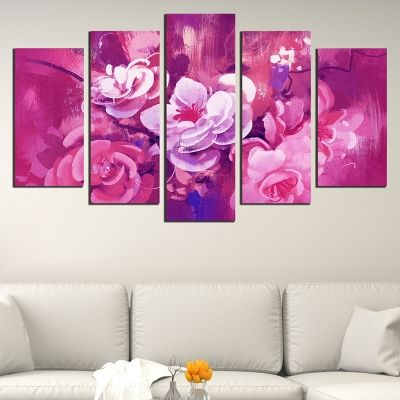 0688 Wall art decoration (set of 5 pieces) Art flowers - purple