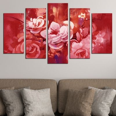 0689 Wall art decoration (set of 5 pieces) Art flowers - red
