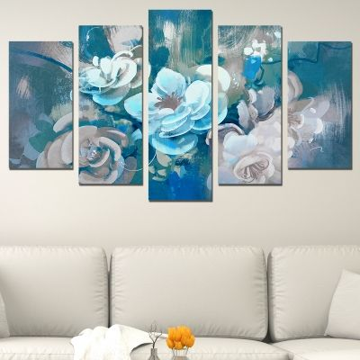 0690 Wall art decoration (set of 5 pieces) Art flowers - blue