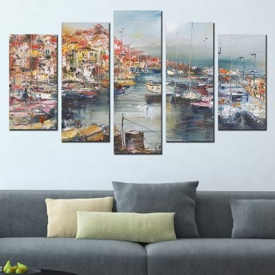 0691 Wall art decoration (set of 5 pieces) Sea landscape Port