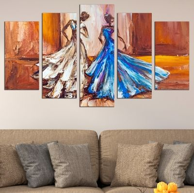 0692 Wall art decoration (set of 5 pieces) Dancers