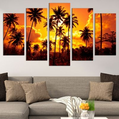 0693 Wall art decoration (set of 5 pieces) Palms
