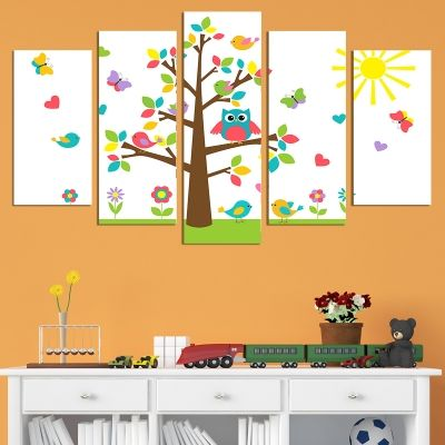 0694 Wall art decoration (set of 5 pieces) Funny tree