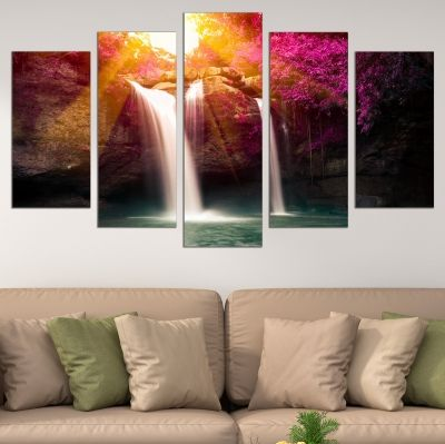 0695 Wall art decoration (set of 5 pieces) Forest landscape with waterfall