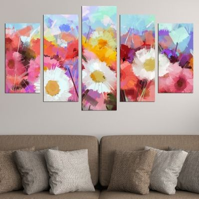 0696 Wall art decoration (set of 5 pieces) Abstract flowers