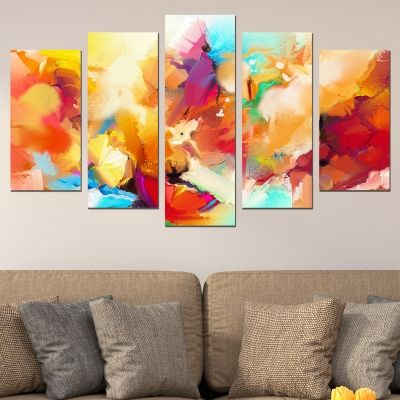 0699 Wall art decoration (set of 5 pieces) Abstract flowers