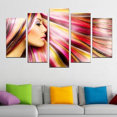 0150  Wall art decoration (set of 5 pieces) Color hair