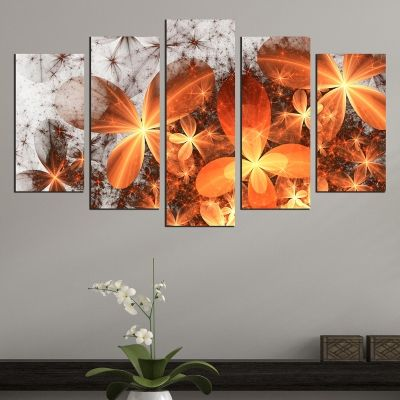 0702 Wall art decoration (set of 5 pieces) Abstract flowers in orange