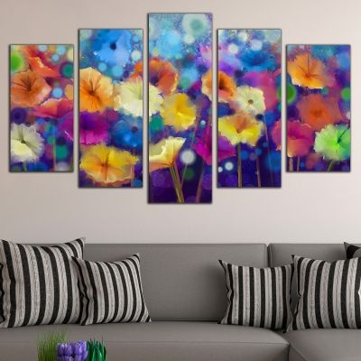 0703 Wall art decoration (set of 5 pieces) Abstract flowers
