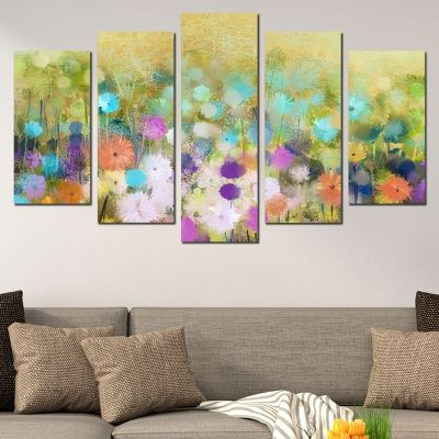 0705 Wall art decoration (set of 5 pieces) Abstract flowers