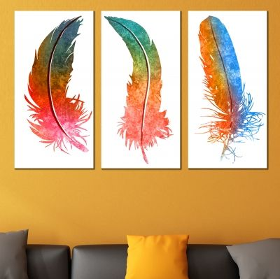 0706 Wall art decoration (set of 3 pieces) Abstract leaves