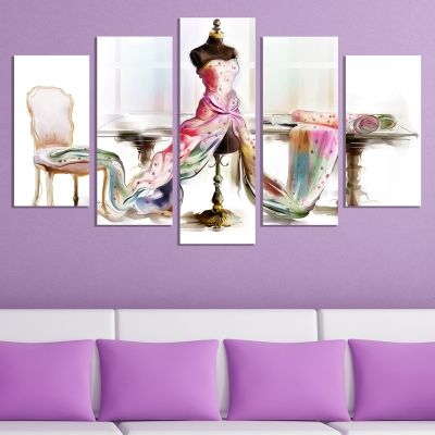0707 Wall art decoration (set of 5 pieces) Beautiful dress