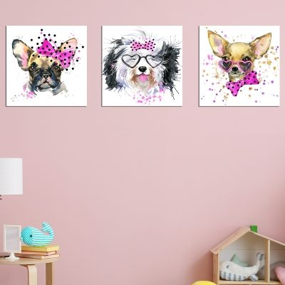 0635Wall art decoration (set of 3 pieces) Funny dogs