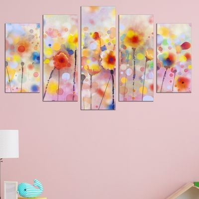 0709 Wall art decoration (set of 5 pieces) Abstract flowers
