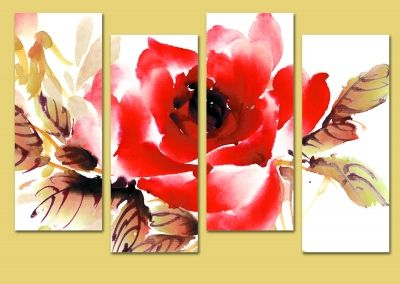 Art wall decoration with red rose